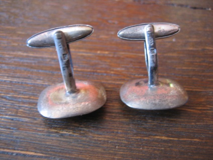 seltene antike Manschettenknöpfe Eichenlaub Eicheln 835er Silber Trachtenschmuck - Vorschau 3