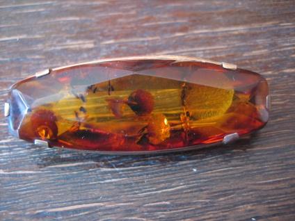 Art Deco Designer Bernstein Brosche 840er Silber vergoldet baltic amber brooch