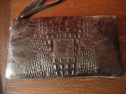 luxuriöse echt Leder Tasche Clutch Kroko Prägung schwarz Designer R. Leonardi - Vorschau 2