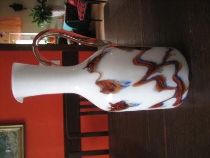prächtige Muranoglas Murano Glas Vase Überfangglas weiß mundgeblasen 60er Jahre