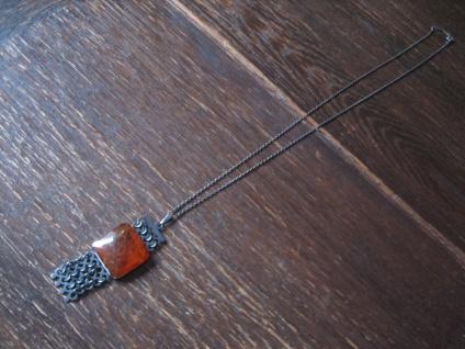 exklusives Art Deco Berstein Collier Kette 875er Silber geschwärzt Russland