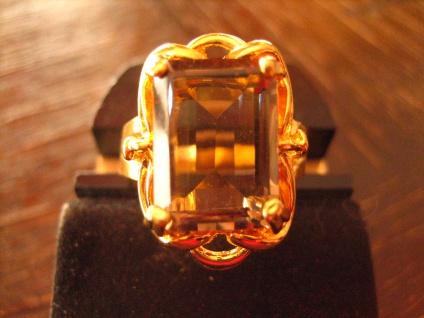 prächtiger Art Deco Ring Rauchtopas Goldschmiede Handarbeit 835er Silber gold 63