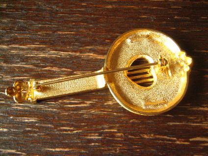 originelle Traum Vintage Brosche Musik Banjo gold Emaille 80er Jahre Modeschmuck - Vorschau 3