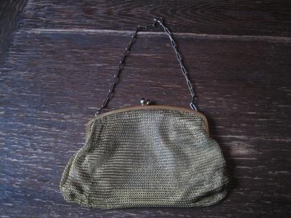 elegante Jugendstil Abendtasche Kettentasche gold Double Tasche Kettengeflecht