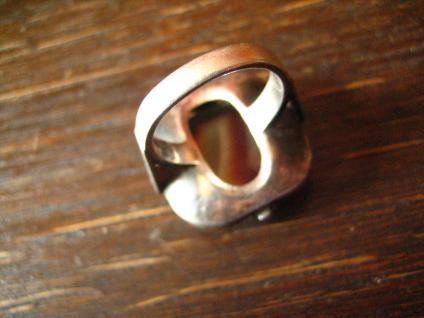 prächtiger Art Deco 835er Silber Streifenachat Ring Goldschmiede Handarbeit 1920 - Vorschau 5