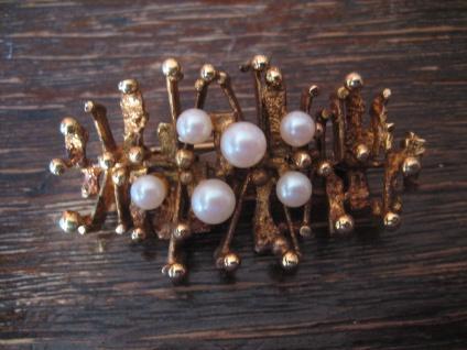prächtige vintage Designer Brosche gold Perlen modernist brooch organisch