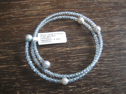 zauberhaftes Aquamarin Armband Japan Akoya Perlen Titaniumdraht alle Größen NEU