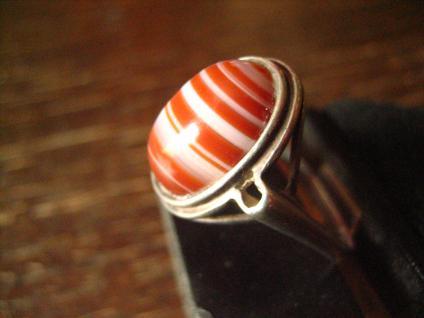 optisch reizvoller Art Deco Ring mit seltenem Streifenachat 925er Silber 19, 5 mm - Vorschau 3