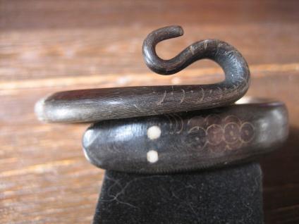 herrlicher Jugendstil Armreif Schlange Schlangen Schlangenarmreif dunkles Horn