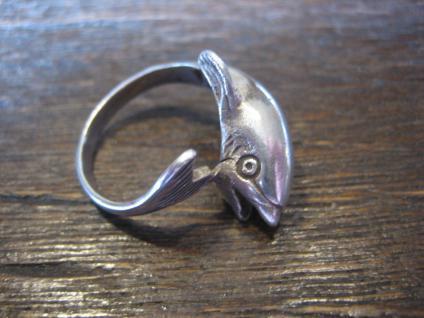 wunderschöner Ring spielender Delfin Delphin Wal 925er Sterling Silber 16, 5 mm - Vorschau 3