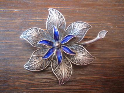 elegante große Blüte Blume Brosche 835er Silber Emaille sehr filigran Art Deco