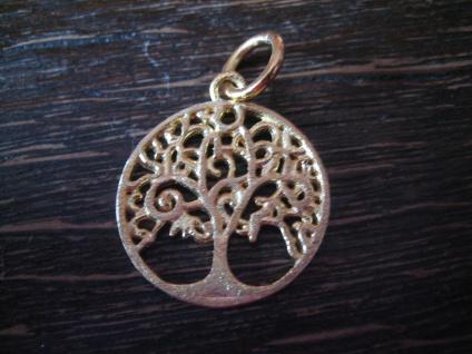 zierlicher edler Anhäger Lebensbaum Baum des Lebens 925er Silber vergoldet 2 cm
