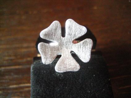 schöner moderner Ring Cocktailring Blume Blüte 925er Silber gebürstet NEU RG 60