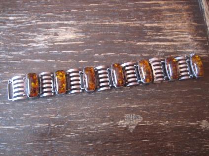 wunderschönes Art Deco Bernstein Armband Fischland 835er Silber 2, 5 cm breit