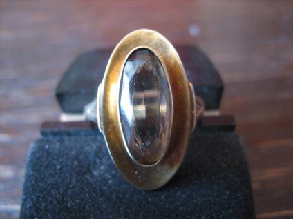 herrlicher Art Deco Rauchtopas 585er Gold Schiffchenring Ring super schöne Form