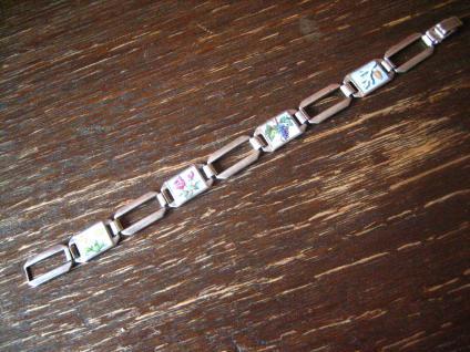 bezauberndes Jugendstil Armband emaillier Vier Jahreszeiten 835er Silber 18 cm