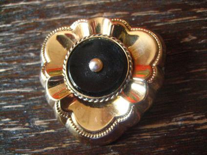 prächtige, sehr elegante Art Deco Brosche gold Doublé Onyx Perle traumhaft !