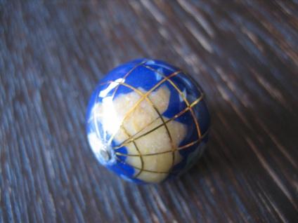 Rarität ausgefallener Vintage Anhänger Weltkugel Globus Erde plastisch blau gold