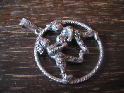 großer Art Deco Markasit Anhänger Sternzeichen Zwilling Horoskop 925er Silber - Vorschau 3