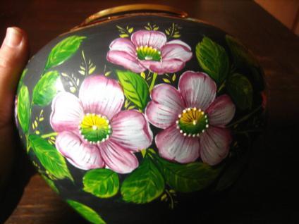 große Glas Vase schwarz traumhafte Rosen Malerei Emailmalerei Rose Unikat - Vorschau 2