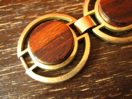ausgefallenes Art Deco Vintage Designer gold Armband mit Holz Inlays - Vorschau 2