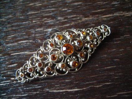 reich verschnörkelte Kristall Brosche im Barock Stil gold antiker Modeschmuck - Vorschau 3