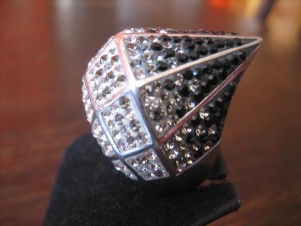 atemberaubender Statement Designer Ring 925er Silber schwarz weiß Glitzer Pavée