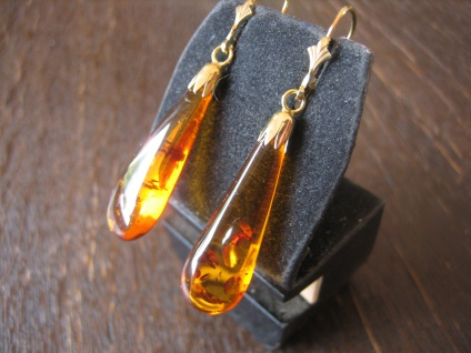 Bernstein Ohrringe Hänger baltischer Bernstein Pampeln 925er Silber gold NEU C - Vorschau 2