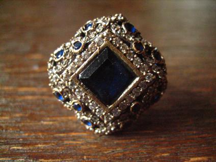 Kronjuwelen gesucht ? prächtiger Saphir Zirkonia Brilliant Ring 925er Silber