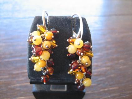 zauberhafte Bernsein Ohrringe Hänger 3farbig 925er Silber bewegliche Trauben NEU