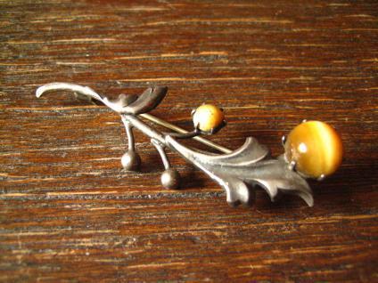 elegante Jugendstil Blüten Zweig Brosche Tigerauge 800er Silber Krawattennadel