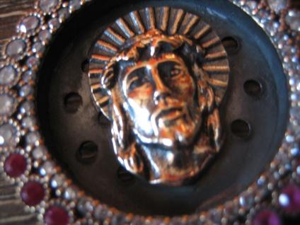 Kronjuwelen gesucht ? opulenter Jesus Anhänger 925er Silber gold rubin Zirkonia - Vorschau 3