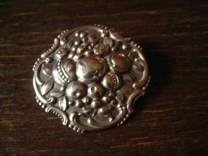 herrliche Jugendstil Klassizismus Brosche üppige Früchte getrieben 800er Silber - Vorschau 4