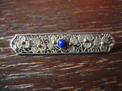 Filigrane antike Krawattennadel Stabnadel 835er Silber gold Kleeblatt Handarbeit