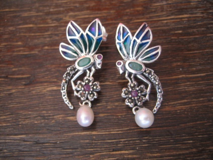 reizende Ohrringe Stecker Libelle 925er Silber Emaille Dragonfly Enamel Earrings