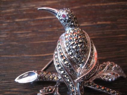 Traum Art Deco Markasit Brosche Paradiesvogel Kolibri 925er Silber TOP Zustand - Vorschau 2