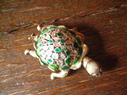 super niedliche Schildkröte vintage Brosche 925er Silber Emaille plastisch