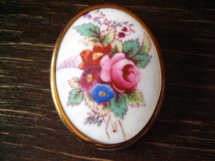 vintage Miniaturmalerei Porzellanmalerei Rosen Brosche Royal Worcester England