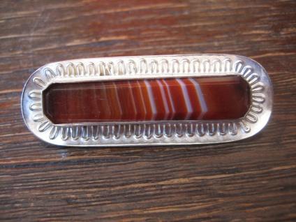 edle Art Deco Brosche 935er Silber Achat Toni Riik Kunstgewerbliche Werkstätte