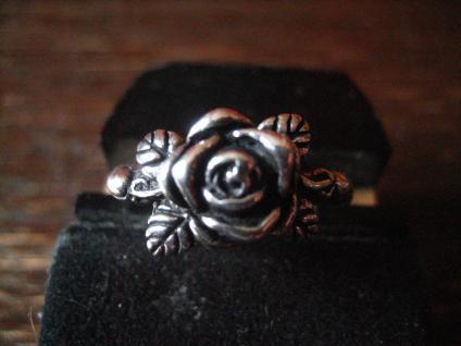 bezaubernder Rosen Ring Rose mit Rosblättern plastisch 925er Silber 19 mm RG 60