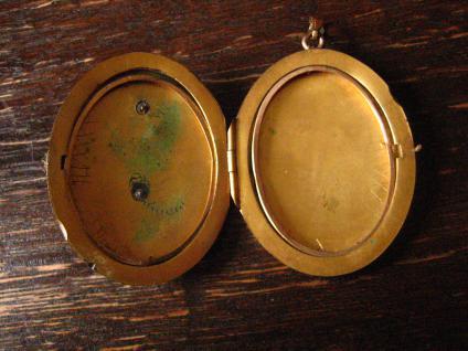 nostalgisches Jugendstil Medallion Anhänger Rose gold Double plastische Rosen - Vorschau 4