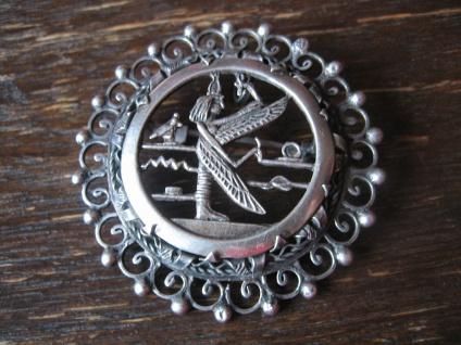 prächtiger Art Deco Anhänger / Brosche ägyptische Göttin Isis 835er Silber - Vorschau 1