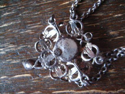 reizvolles antikes Trachten Dirndl Collier Kette 835er silber Erbskette Glitzerstein - Vorschau 4