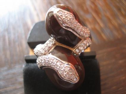 prächtige moderne Designer Ring Schlange 925er Silber Emaille Zirkonia NEU RG 60