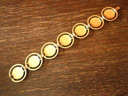 ausgefallenes Art Deco Vintage Designer gold Armband mit Holz Inlays - Vorschau 4