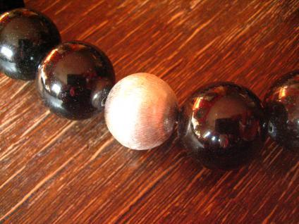 riesige schwarze Edelstein Kugeln Kugel Collier 2 cm schwarz 925 Silber Element - Vorschau 3