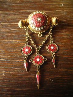 dekorative Solje Hochzeitsbrosche Brosche gold Emaille rot + weiß emailliert