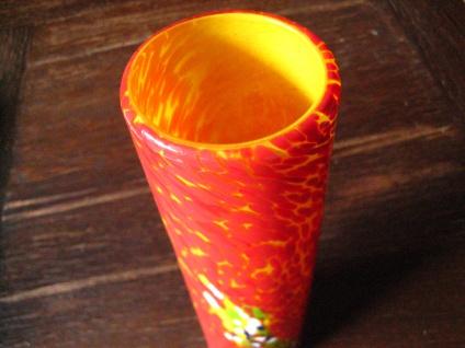 flammend Orange Murano Glas Muranoglas Vase Zylindervase Überfangglas Handarbeit - Vorschau 3