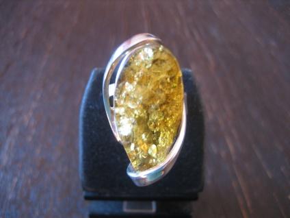 exquisiter Statement Designer Bernstein Ring 925er Silber Unikat RG 57 + NEU