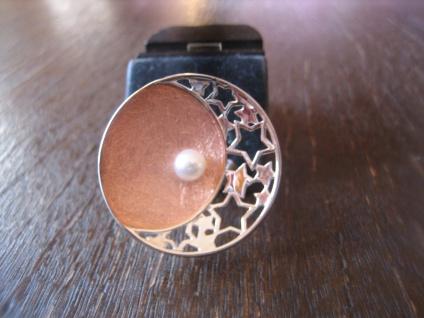 prächtiger Statement Ring mit Sternen Sterne Perle 925er Silber Rotgold G 57 NEU